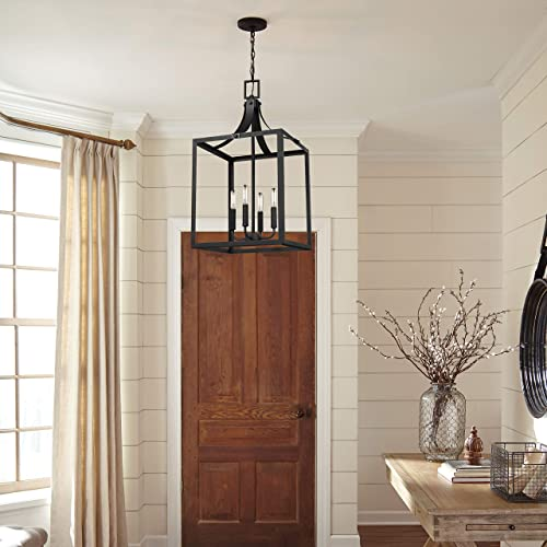 Seagull Sea Gull 5340604-12 Transitional Four Light Hall Foyer Pendant from Labette Collection in Black Finish, 14.00 inches, Large