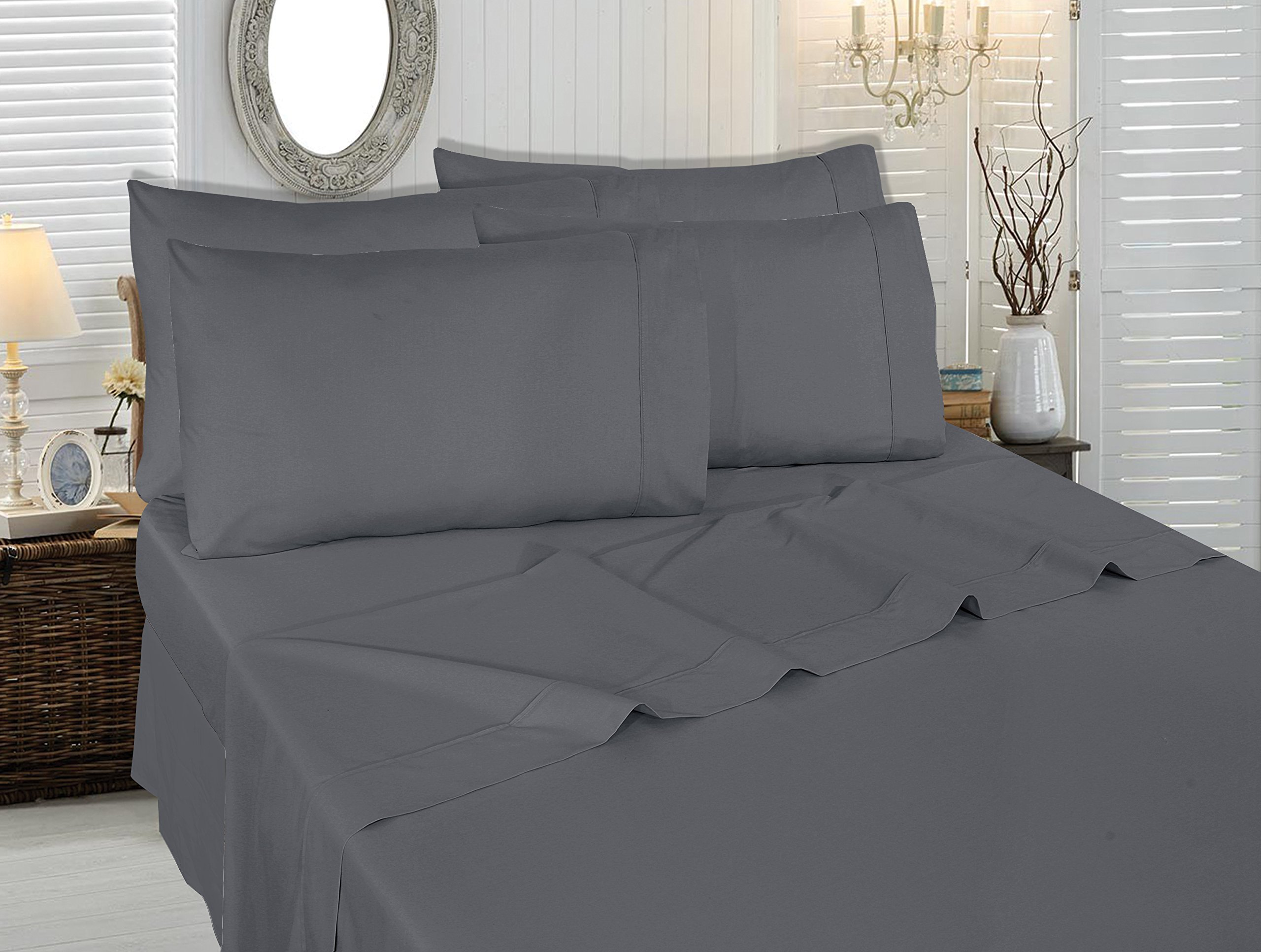 Utopia Bedding 6-Piece Bed Sheet Set (Queen - Grey) with 4 Pillowcases - Soft Brushed Microfiber Wrinkle, Fade and Stain Resistant Sheet Set - Includes 1 flat sheet measuring 90 by 102 inches with a 4 inches self-hem; 1 fitted sheet measuring 60 by 80 inches with a 16 inches box and 4 pillowcases measuring 20 by 30 inches each Brushed microfiber fabric makes the sheet set exceptionally soft Smooth feel of the sheet is very cozy which keeps you cool during summers and warm during winters - sheet-sets, bedroom-sheets-comforters, bedroom - 81sxYa3NzaL -