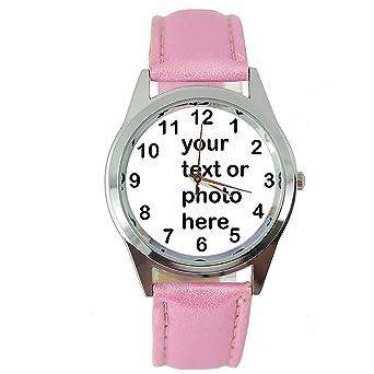 taport® personalizados reloj cuarzo redondo reloj Dial de banda de color rosa Real piel E8 + libre batería de repuesto + libre bolsa de regalo: Amazon.es: ...