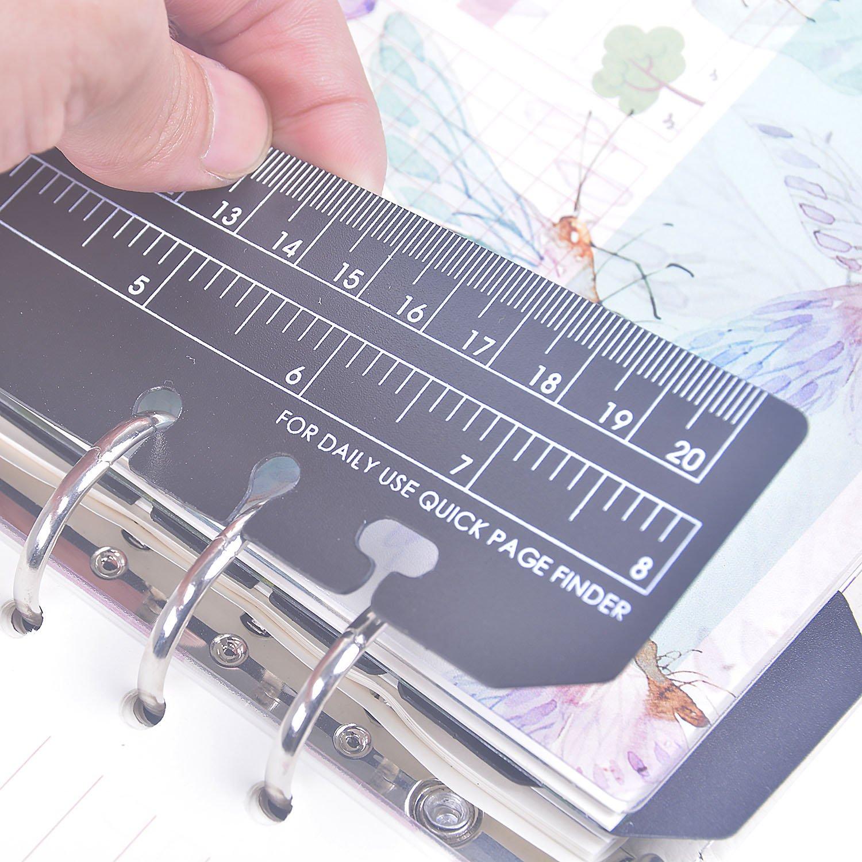 20cm Intercalaires de reliure de signet 6 trous /à fixation rapide Page dindex ins/érable dans le planificateur R/ègle en plastique de mesure Larcenciel 10 pi/èces Carnet de notes A5 Filofax R/ègle