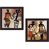 Wens 'Womenfolk's Returning Home' Wall Hanging Painting (MDF, 35 cm x 71 cm x 2.5 cm)