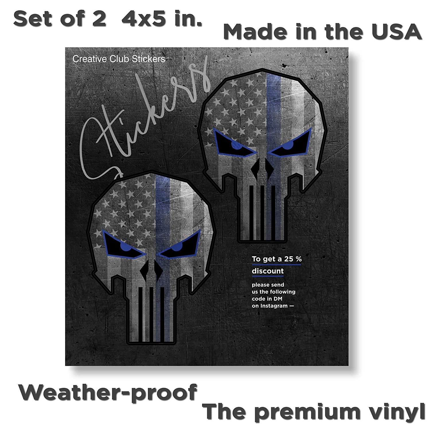 Skull Wall Decal Punisher Blue Line Vinyl Truck Bumper Sticker for Car 17 Large Creative Club Stickers