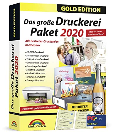 Das Große Druckerei Paket 2020 Einladungen Glückwunsch Karten Etiketten Cd Dvd Labels Visitenkarten Für Windows 10 8 1 7
