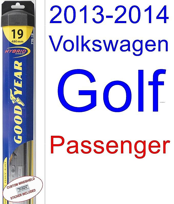 Amazon.com: 2013-2014 Volkswagen Golf Wiper Blade (Passenger) (Goodyear Wiper Blades-Hybrid): Automotive