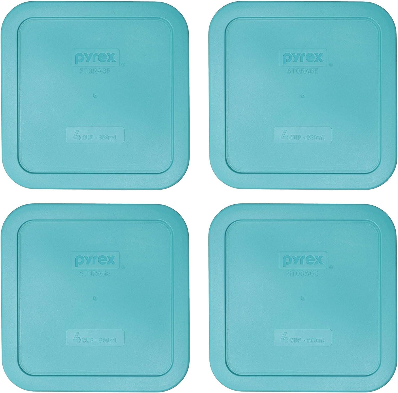 Pyrex 8704-PC Turquoise Square Plastic Storage Lids - 4 Pack