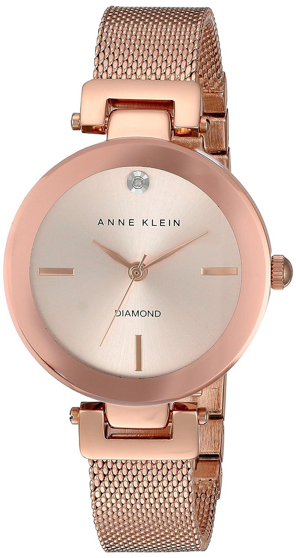 Anne Klein Damen Quarzuhr mit Rosa Zifferblatt Analog-Anzeige und Rose Gold Legierung Armband AK-n2472rgrg