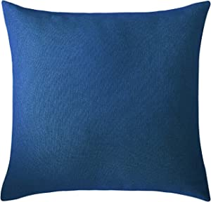 Deconovo Throw Textural Faux Linen Home Decorative Hand Made Pillow Case Cushion Cover for Bed, 18x18 Inch, Federal Blue