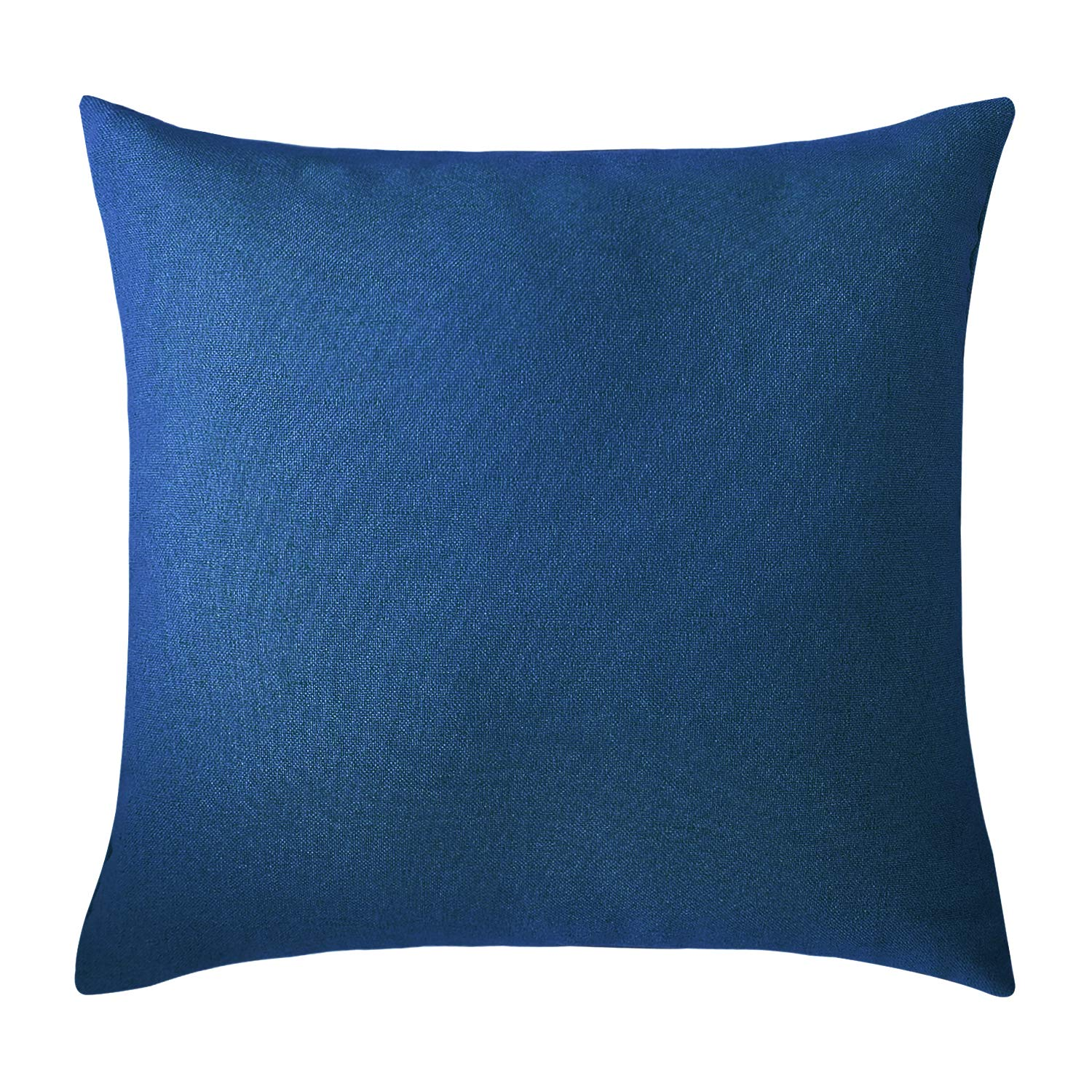 Deconovo Textural Faux Linen Home Decorative Hand Made Pillow Case Cushion Cover for Bed 18 x 18 Inch Federal Blue No Pillow Insert