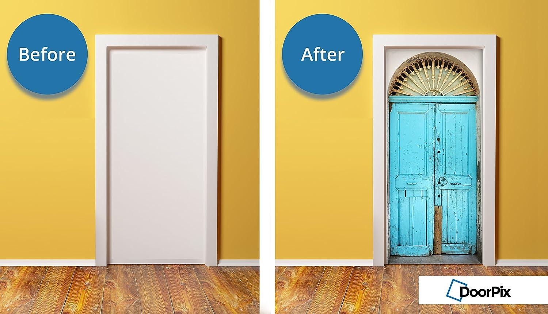 DoorPix 32x80 Inch 3D Door Mural Wrap Matte Bubble Free Sticker Aqua ...