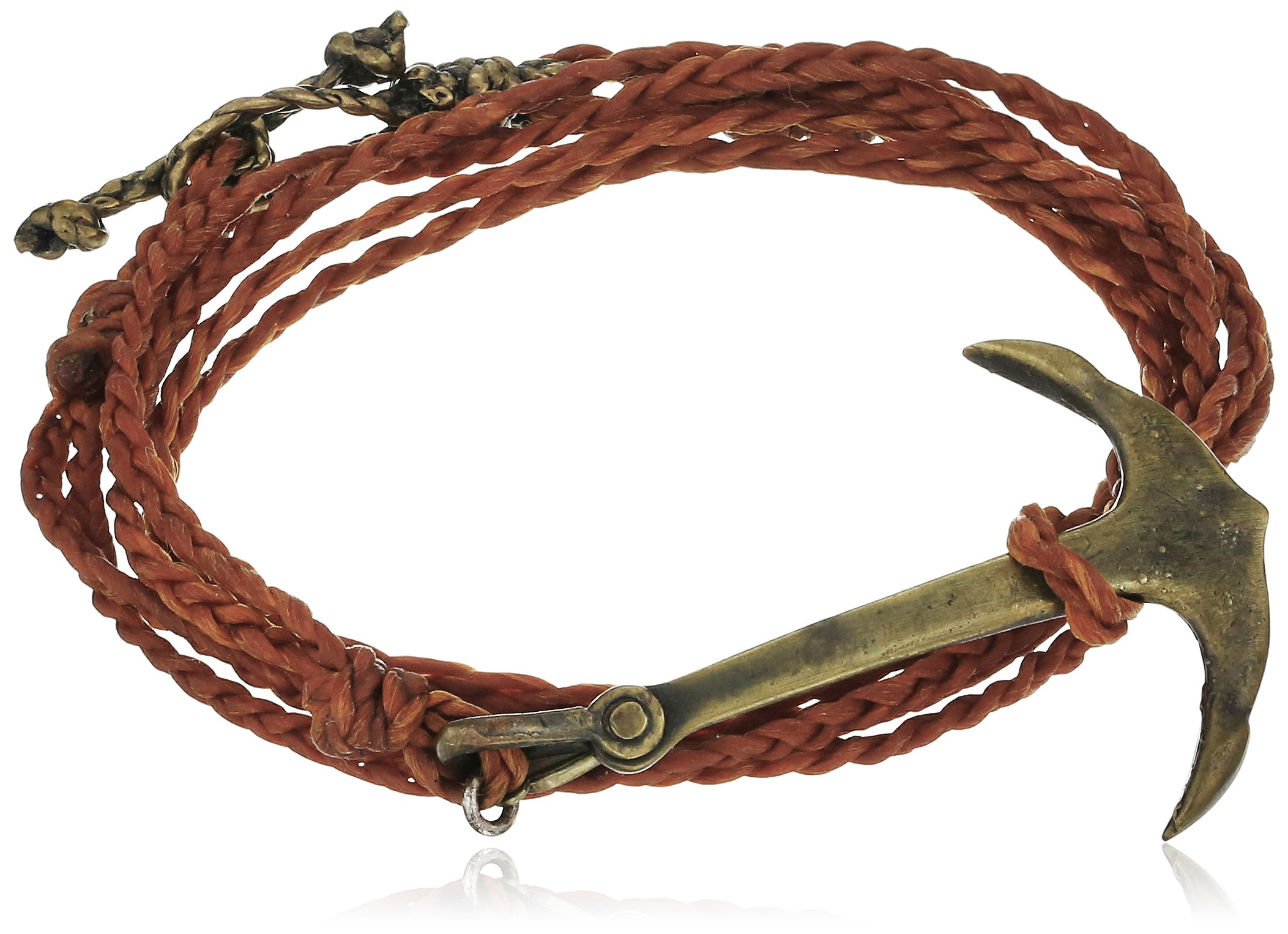 M.Cohen Hand made Designs Multi-Wrap with Brass Anchor on Wax Cord, 22''