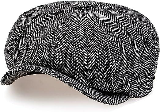 Mens Grey//black 8-panel herringbone News boy gatsby style Flat Cap Fast Post