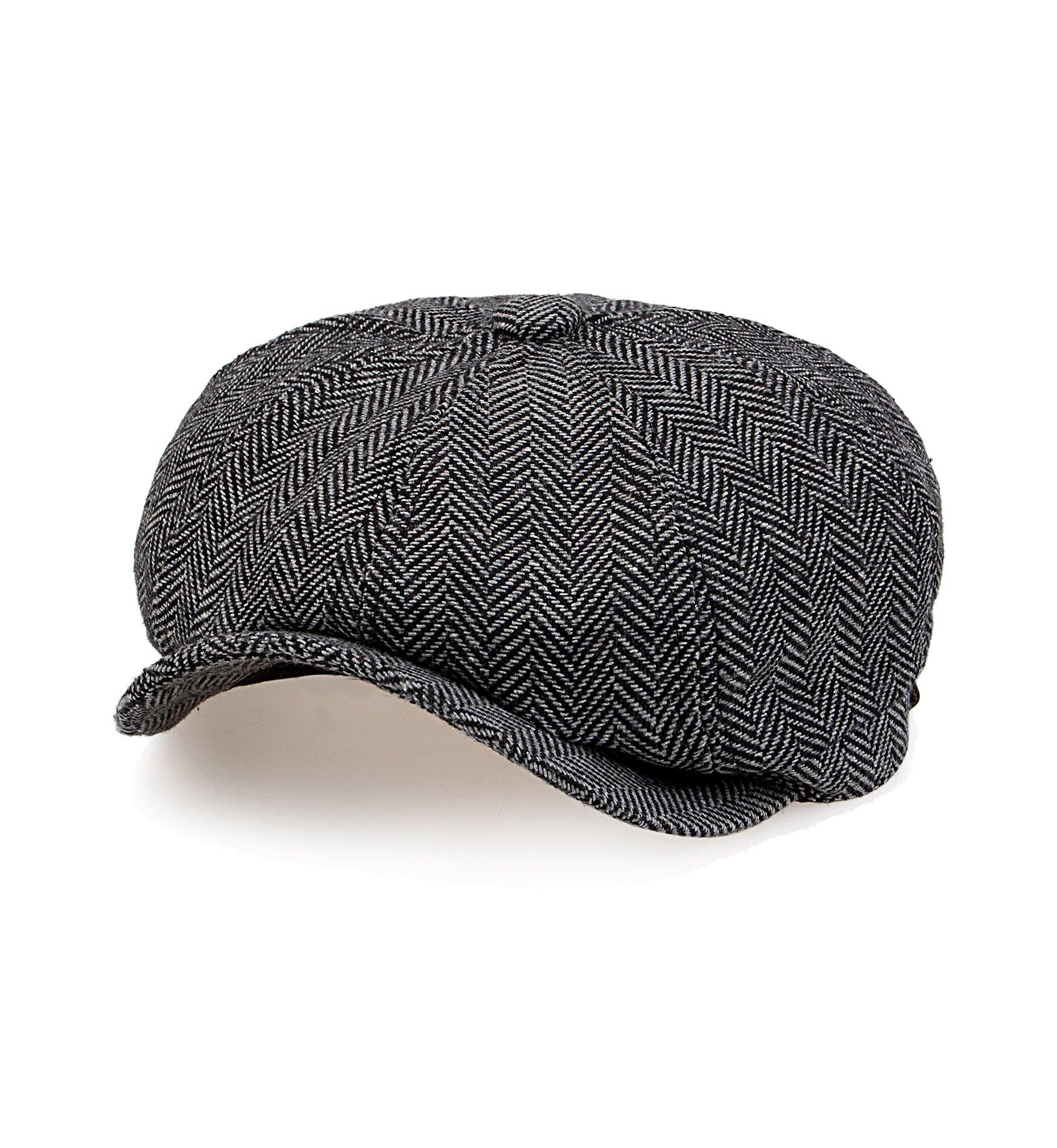 Sumolux Mens Tweed Cap 8 Panel Herringbone Irish Caps newsboy IVY Linen Snap Brim Hat