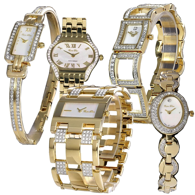 5er-Uhrenset: Carpe Diem -perlmutt- hochwerige Damenarmbanduhren Made in Germany - ein SchnÄppchen fÜr Wiederverk