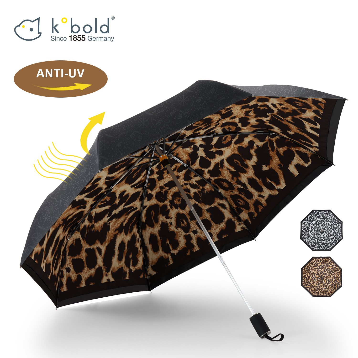 Kobold Tavel Umbrella Compact Mini Lightweight Travel Umbrellas for Women Double Layers Canopy for Rain Sun Protection Comfortable Handle Leopard Print by Kobold (Image #1)