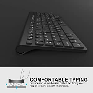 J JOYACCESS Wireless Keyboard and Mouse Combo-2.4G Portable,Full Size Keyboard and Mouse with Rechargeable Batteries,Ergonomic, Quiet Click Sleek Design for Desk Top or Laptop-(Black) (Color: Black)