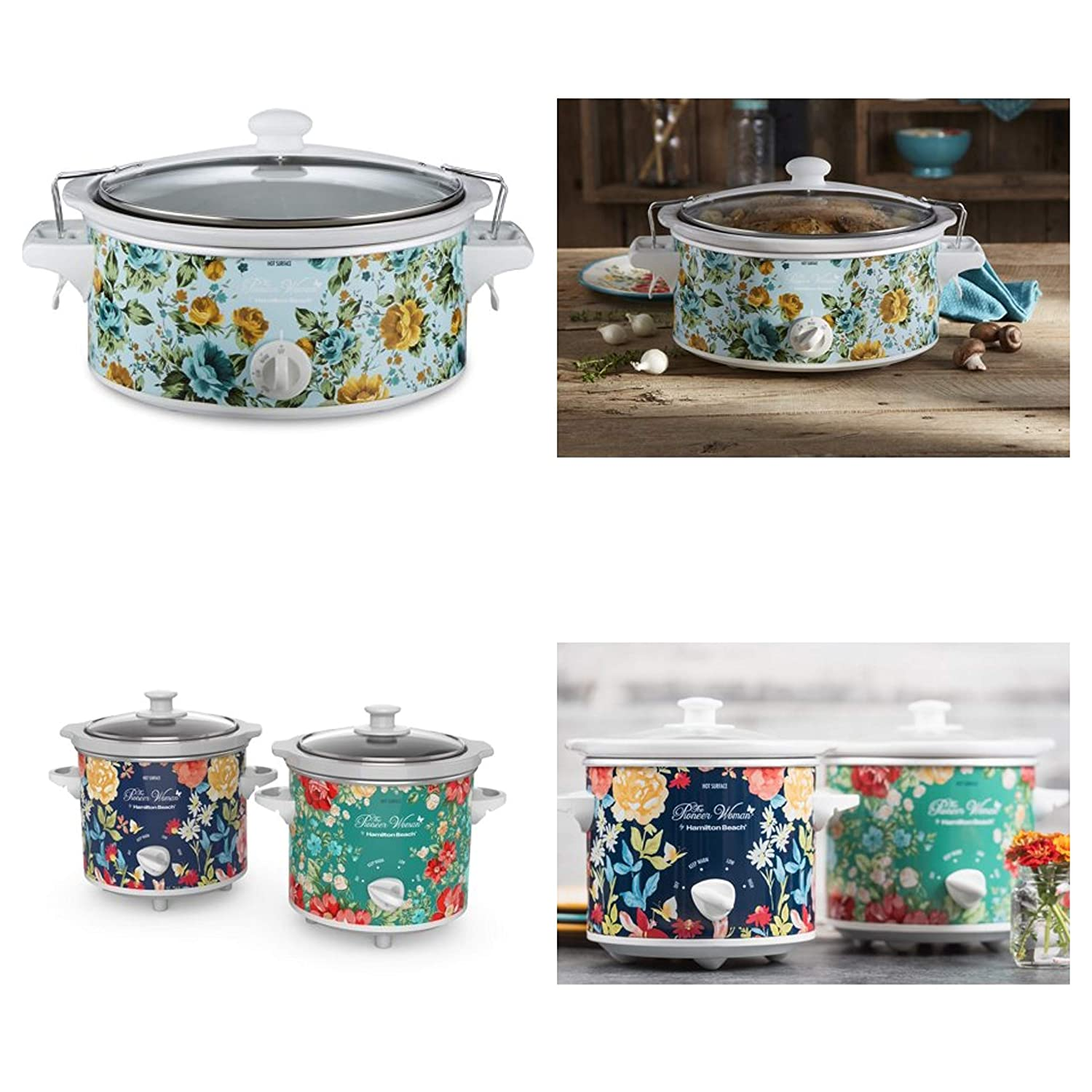 Pioneer Woman 6 Quart Portable Slow Cooker Rose Shadow Bundle with 1.5 Quart Slow Cooker (Set of 2) Fiona Floral/Vintage Floral