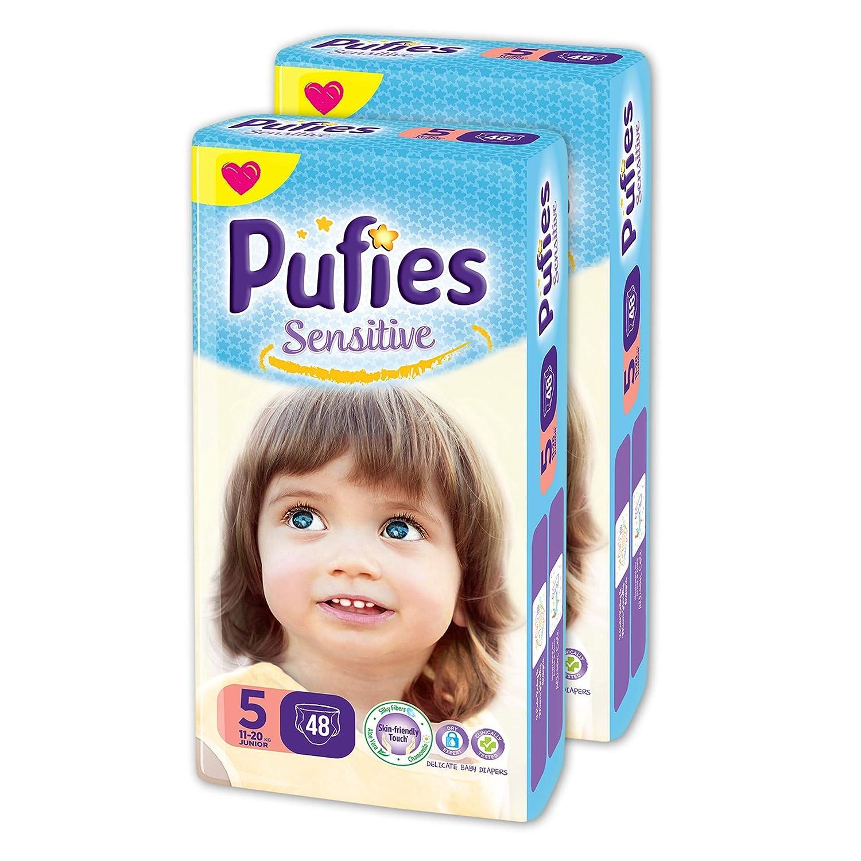 Pañales para bebés Pufies Sensitive - Paquete de pañales con 148 unidades de la talla 2 (3-6 Kg.): Amazon.es: Bebé
