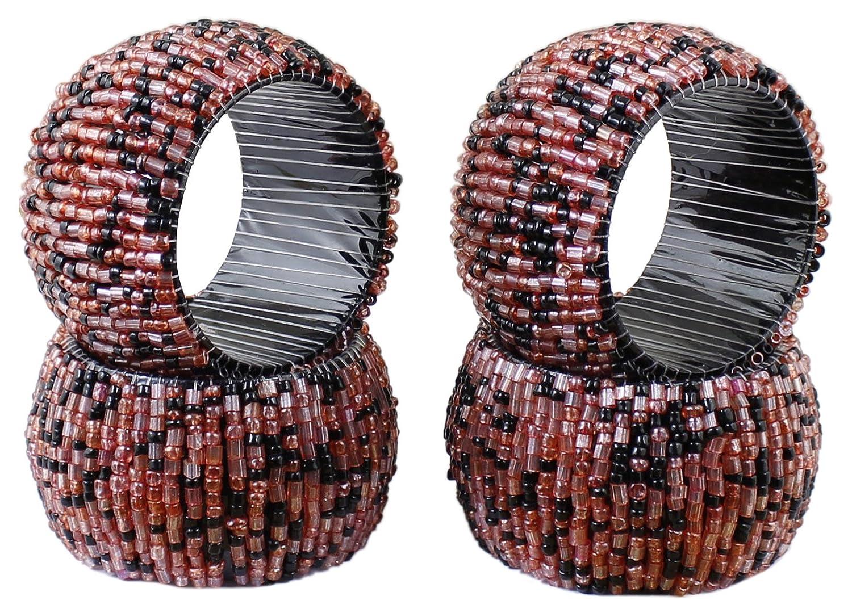 クリスマスデコレーションのセット4 – RoyaltyLaneナプキンリングホルダー紙ナプキンのラウンドガラスビーズ付きTexturedのテーブルの – 2.5