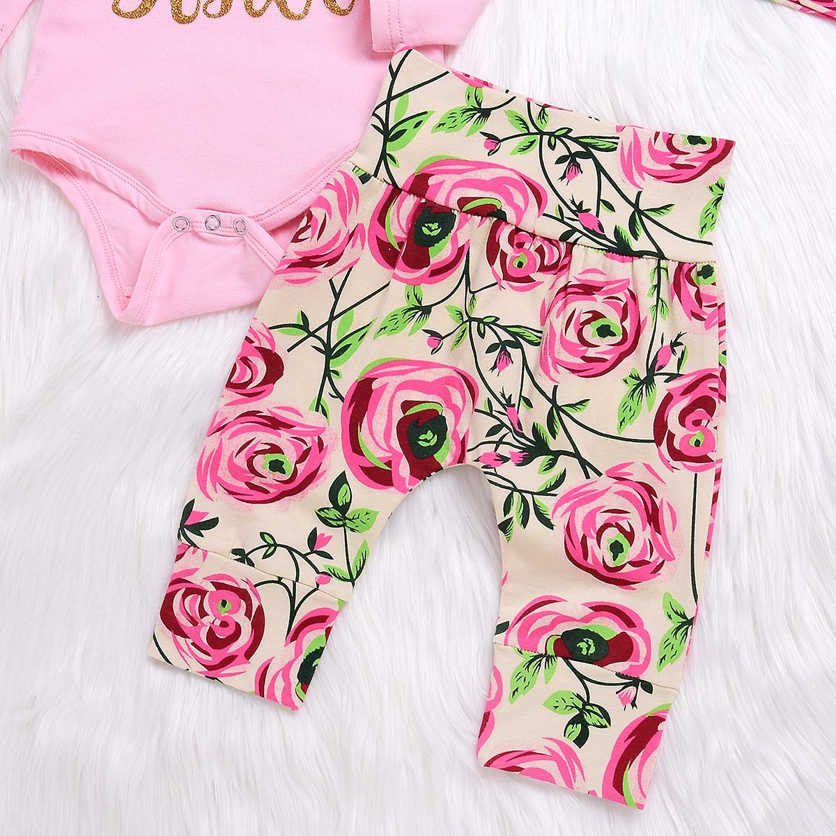 Camidy 4Pcs Baby Girl Little Sister Rose Flower Outfits Romper+Pants+Headband+Beanie