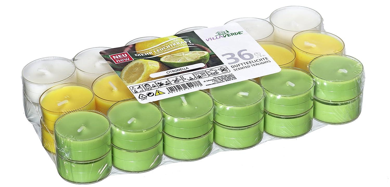 4 Heures de Combustion Unbekannt Lot de 36 Bougies parfum/ées /à la citronnelle et /à la Bougie Bougie parfum/ée en Acrylique Couvercle en Plastique