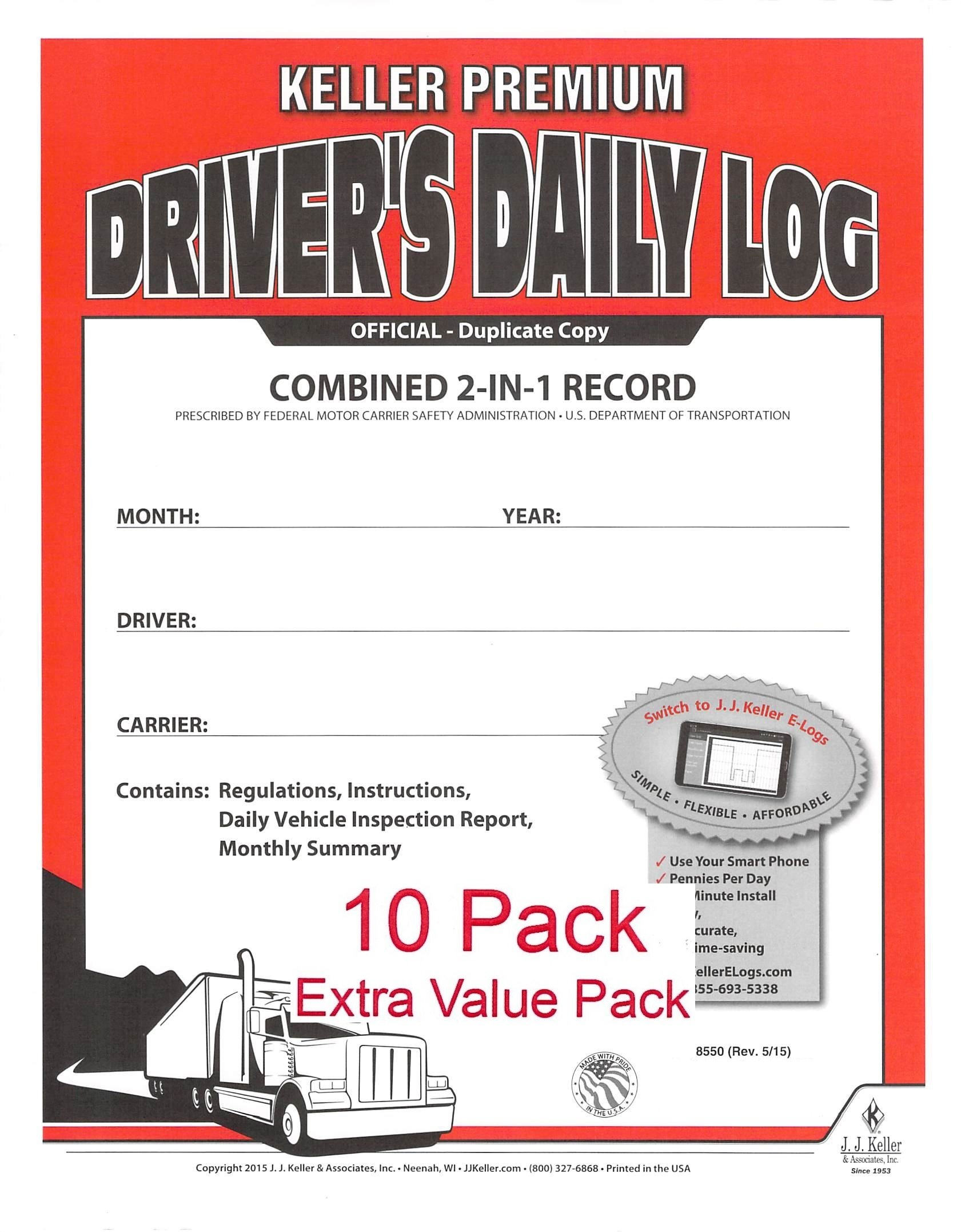 J.J. Keller 8550 (605L) 2-In-1 Driver's Daily Log Book w/Detailed DVIR, 2-Ply, w/Carbon, No Recap - Pack of 10 by J. J. Keller
