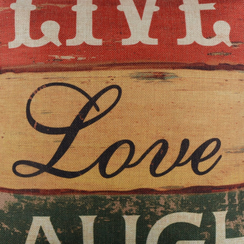 LINKWELL 18''x18'' Vintage Wood Slat Live Love Laugh Words Burlap Throw Pillow Case Cushion Cover (CC1125) by LINKWELL (Image #2)