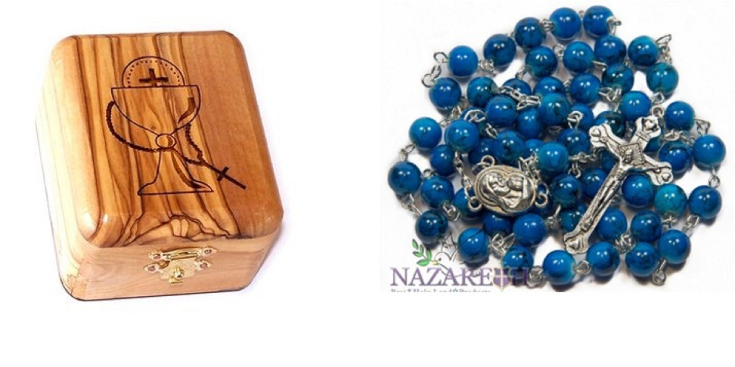 Bethlehem Gifts TM Olive Wood First Communion Jewelry Box with Rosary Set by (Beautiful Round Blue Glass)