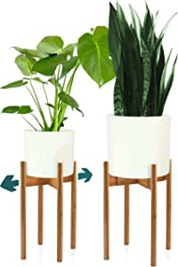 Fox & Fern Tall Plant Stand - Adjustable from 8 to 12 Inch in Width - Excluding White Ceramic Planter Pot