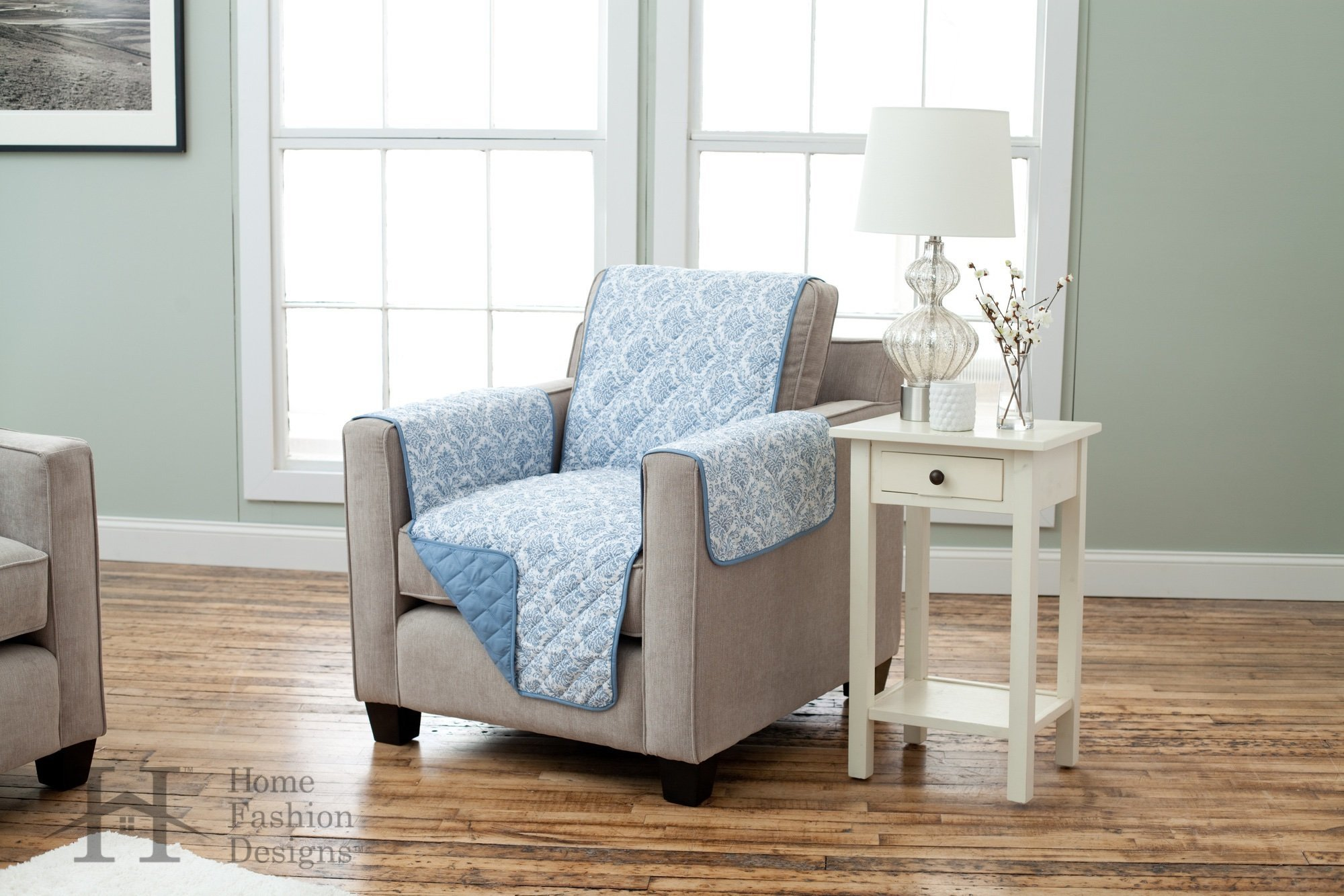 Home Fashion Designs Deluxe Reversible Quilted Furniture Protector. Beautiful Print on One Side/Solid Color on The Other for Two Fresh Looks. Luxe Collection Brand. (Chair, Harbor Blue)