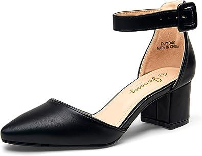 JEOSSY Women's Low Chunky Heels Pump