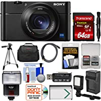Sony Cyber-Shot DSC-RX100 V A 4K Wi-Fi Digital Camera with 64GB Card + Case + Flash + Video Light + Battery & Charger + Tripod + Kit