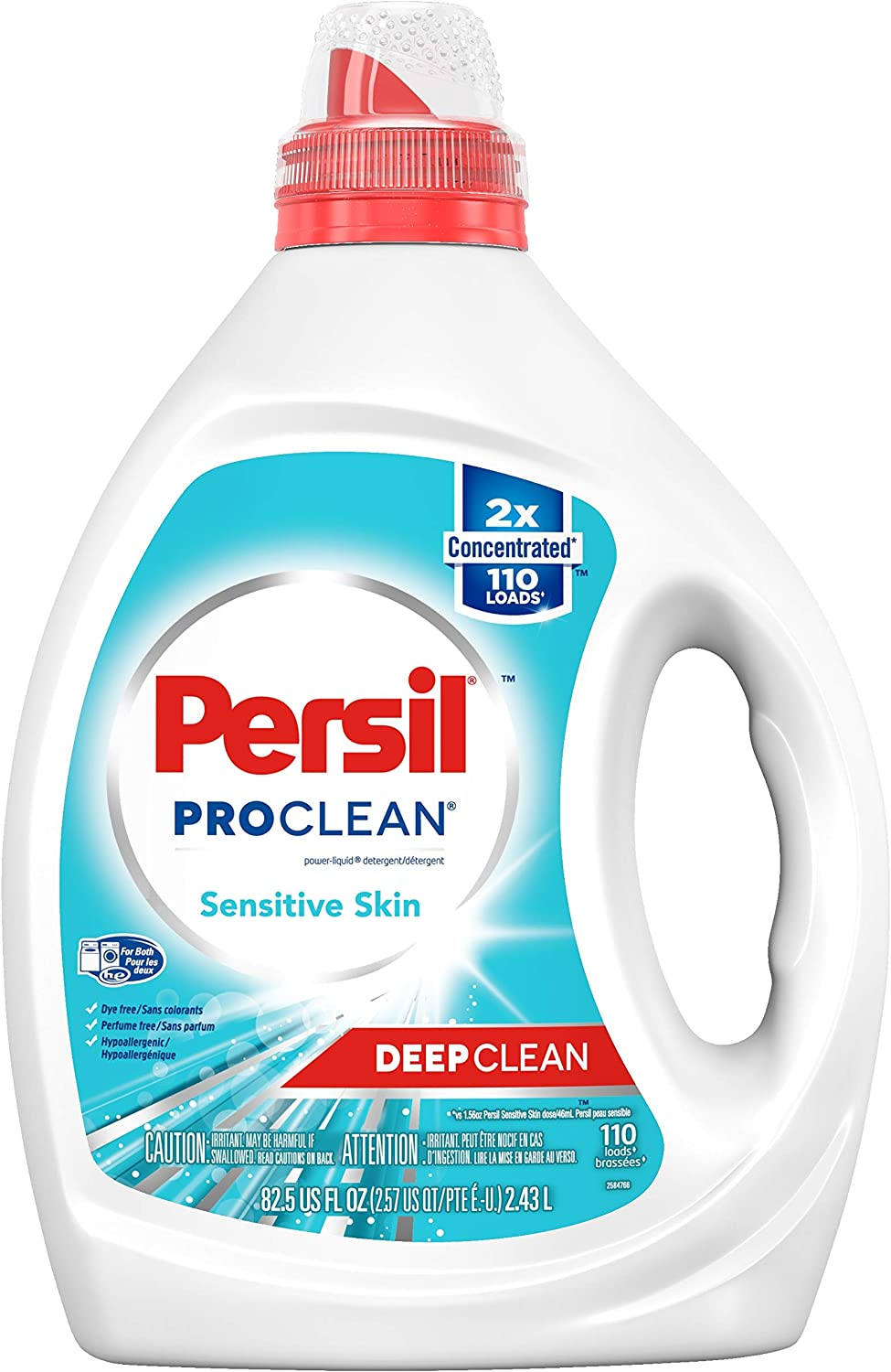 Persil ProClean Liquid Laundry Detergent, Sensitive Skin, 2X Concentrated, 110 Loads, 82.5