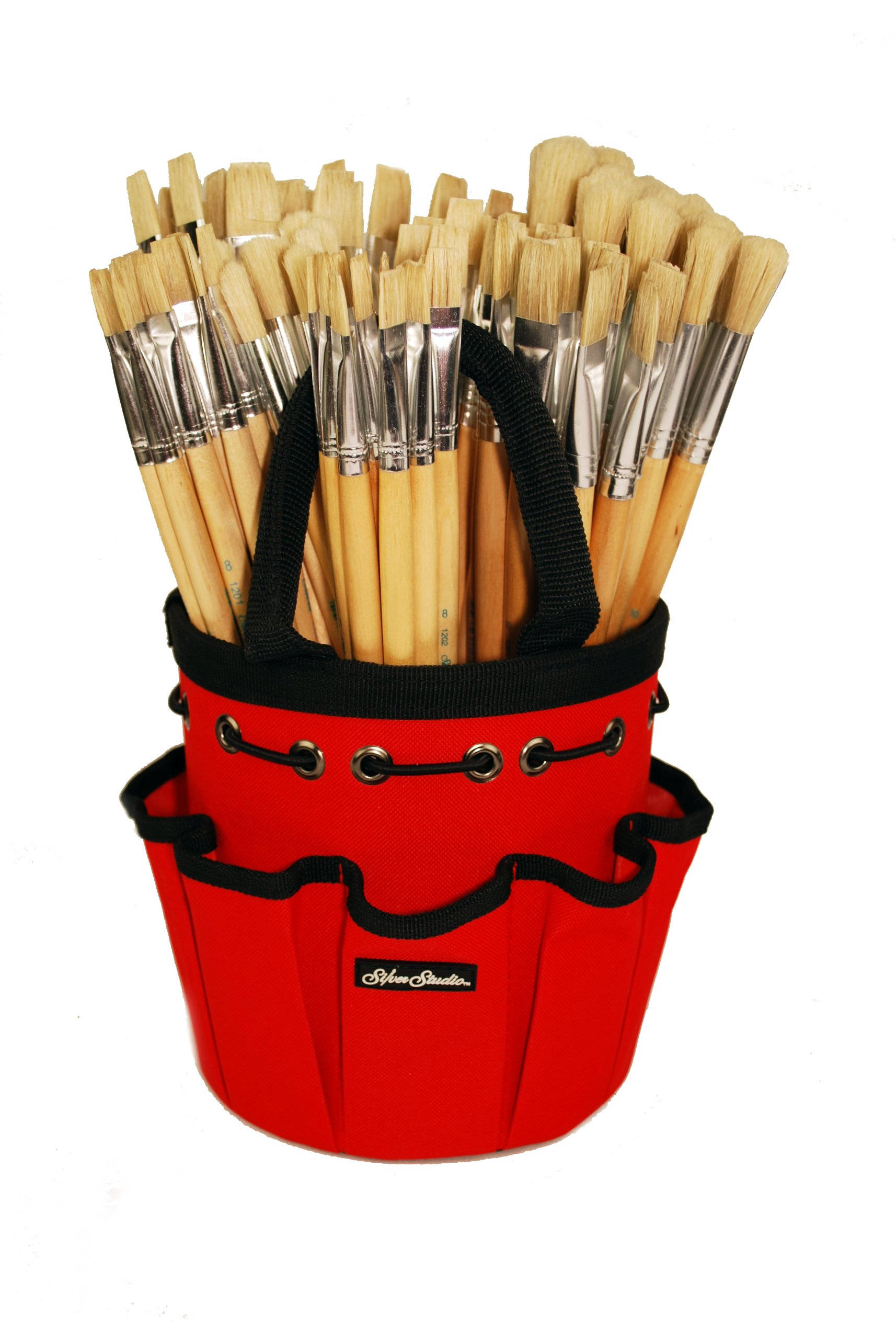 Silverwhite CP-1209 Faye Bristle Jumbo Size Long handle Class Pack Brush Set with Red Petite Round Tote, 109 Per Pack