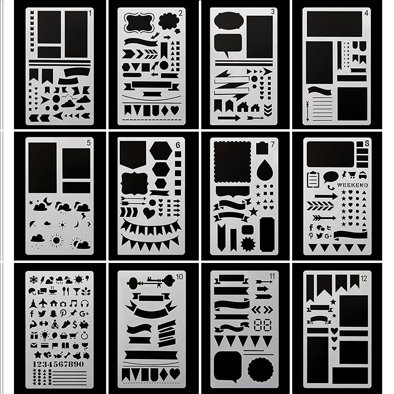 Bullet Journal Stencil, Gookit 12 Packs Plastic Journal Stencil Painting Shapes Letter Journaling Set DIY Drawing Template Stencil 4x7 Inch