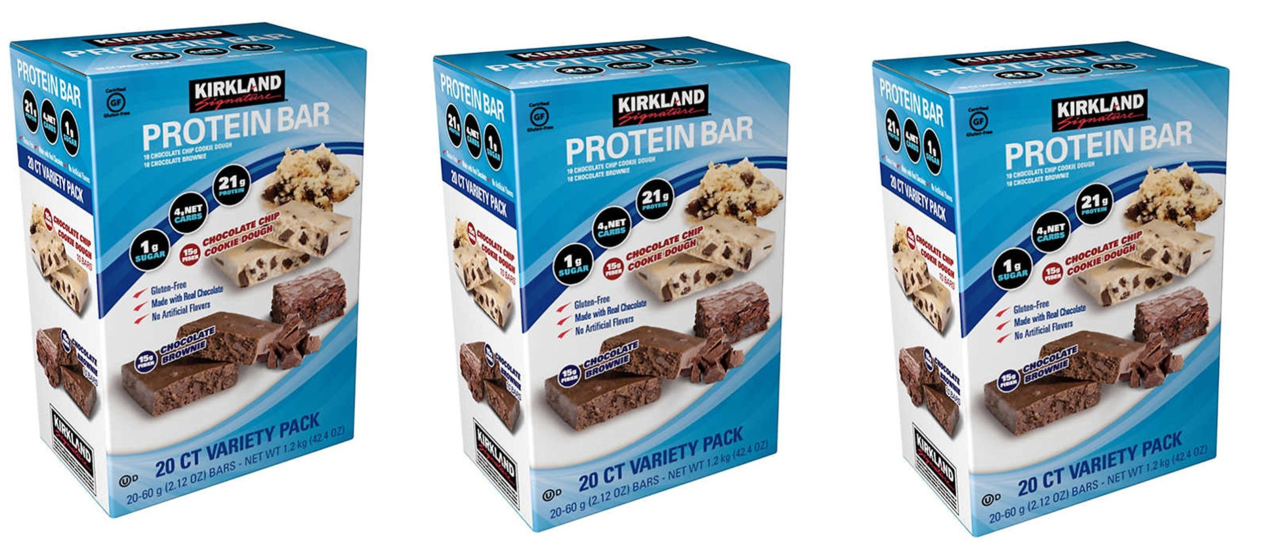 Kirkland Signature Variety Protein Bars 20 count, 21G Of Protein, 4G Of Carbs and 1G Of Sugar, Chocolate Brownie and Chocolate Chip Cookie Dough, 3 Boxes