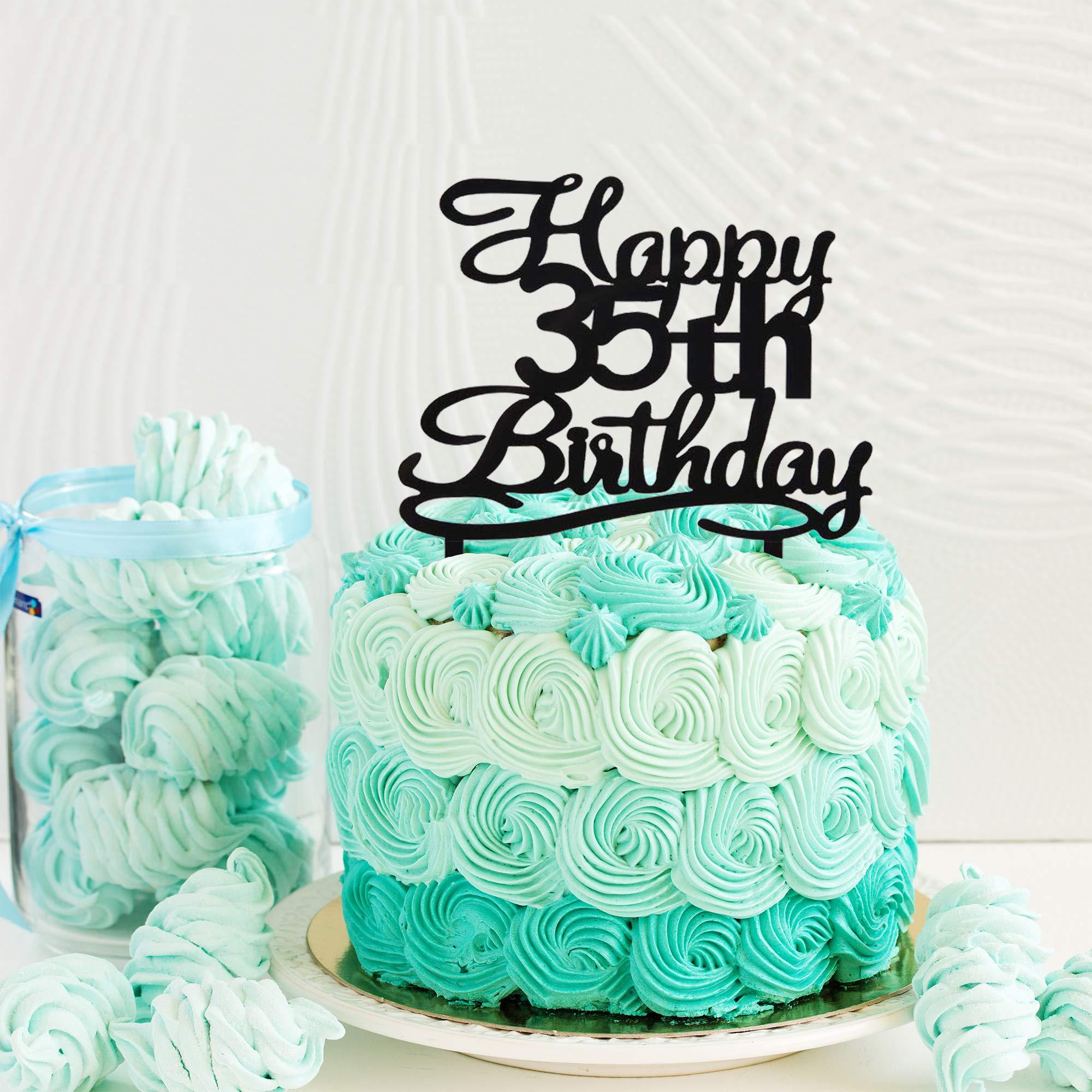Incredible Happy 35Th Birthday Cake Topper Black Acrylic Cake Topper Number Funny Birthday Cards Online Hetedamsfinfo