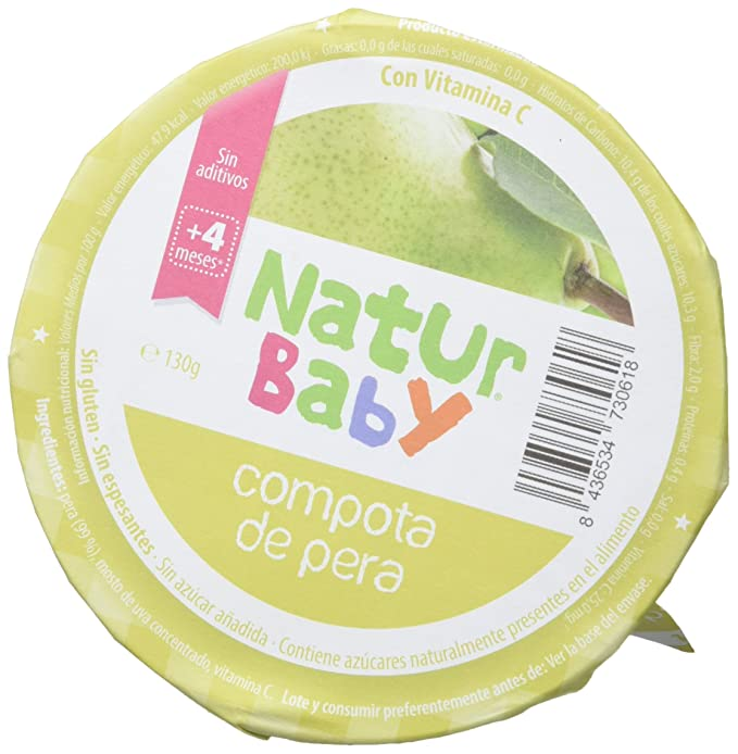 Natur Baby Puré Natural de de Compota de Pera para Bebé - Paquete de 18 x