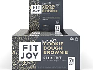 FitJoy Mini Protein Bars, Cookie Dough Brownie, Gluten Free, Grain Free, Low Carb.67 Ounce, 16 Pack