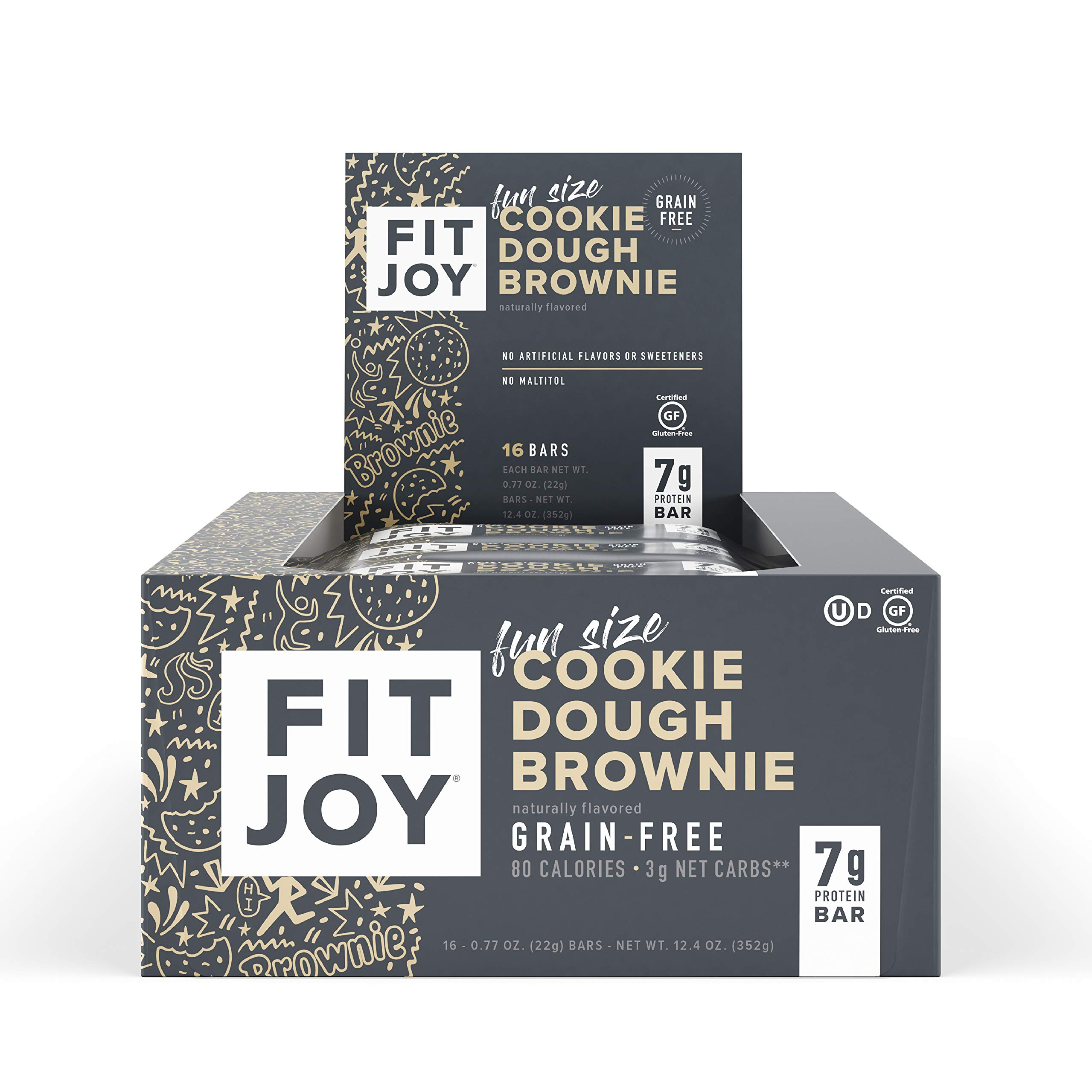 FitJoy Mini Protein Bars, Grain Free, Gluten Free, Low Carb, High Protein Snacks - Keto and Kid Friendly, Low Sugar 6g Protein Bars - Cookie Dough Brownie, 16 Pack of .67oz Fun Size Bars