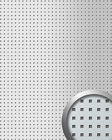 Revestimiento mural autoadhesivo diseño cuadrados WallFace 10988 3D QUAD perforados color plata metalic 2,60