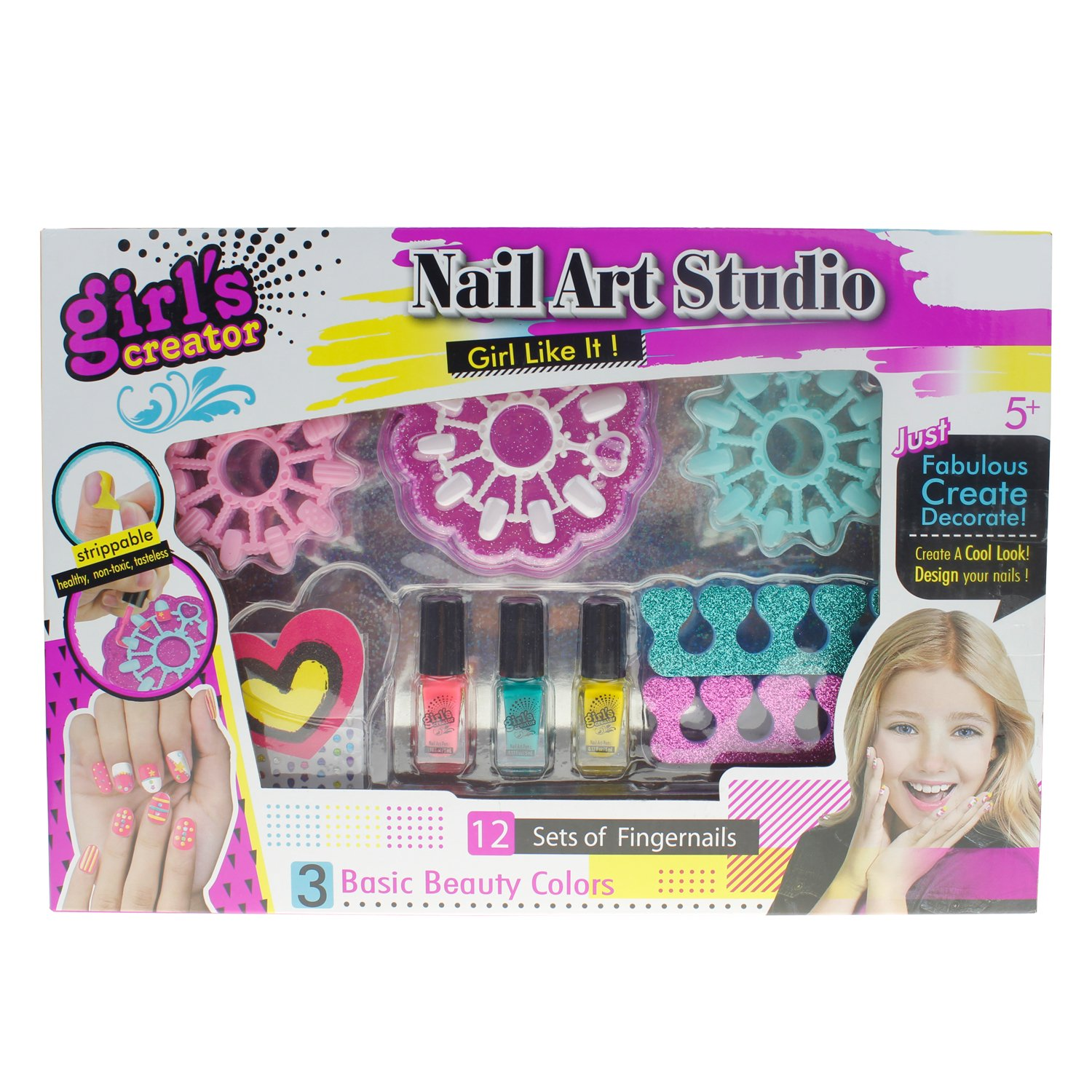 Style-Carry Nail Polish Set Grils Toys - Nail Salon Games Non-Toxic Nail Art Kit with Gems,Design Box & Manicure Gift Set for Kids Girls & Teens