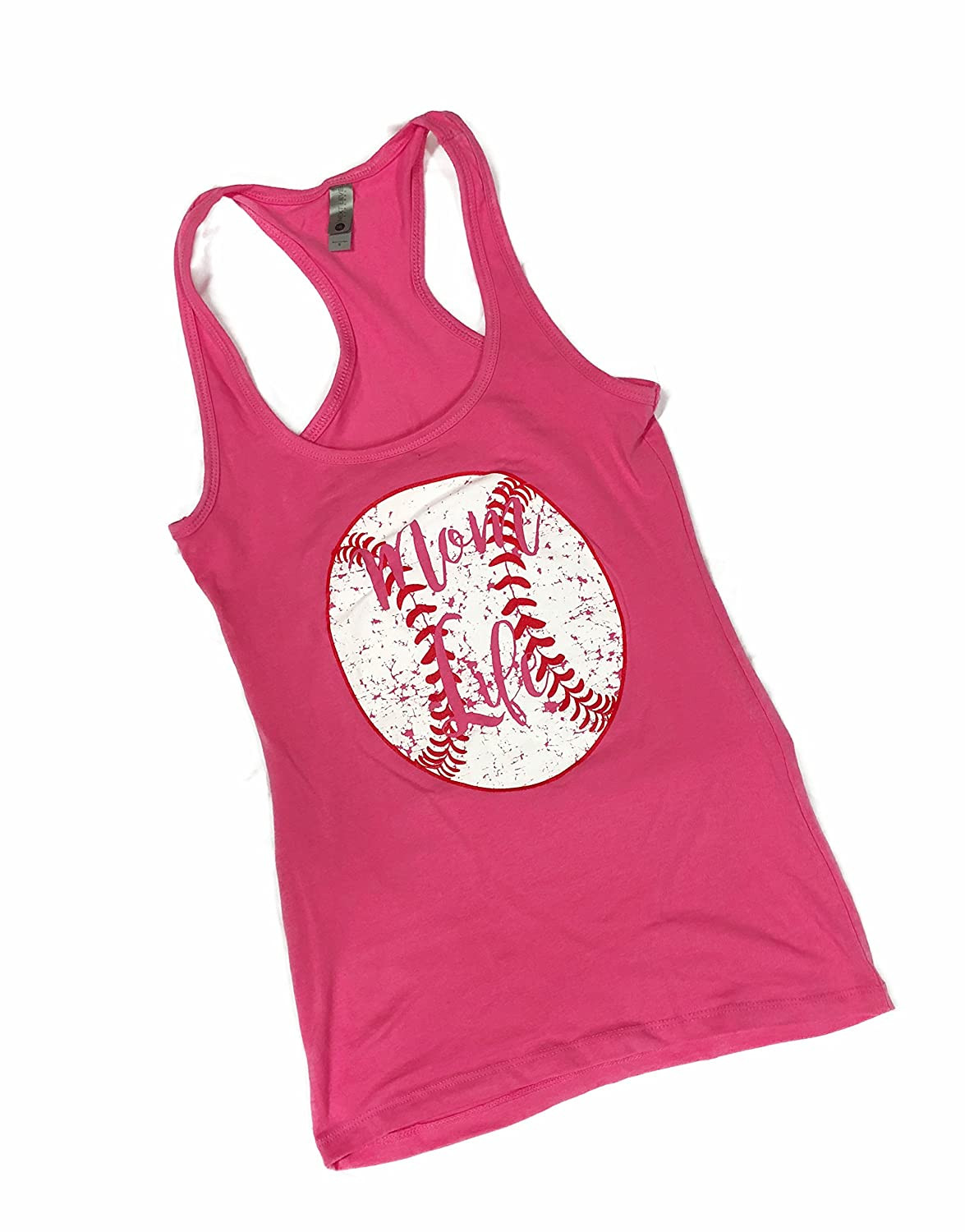 Hot Pink Devious Apparel Mom Life 6633 TM09 Fitted Poly Blend Tank Baseball Softball Team Mom Tee Printed Women's