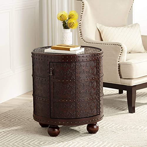 Best living room table: Hadley 21 3/4″ Wide Nailhead Trim Round Accent Table