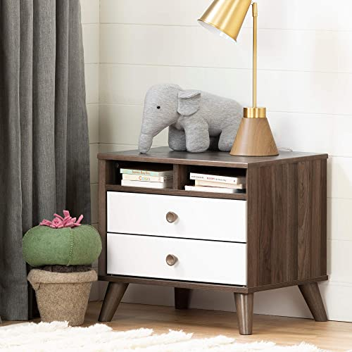South Shore Yodi 2-Drawer Nightstand-Natural Walnut and Pure White