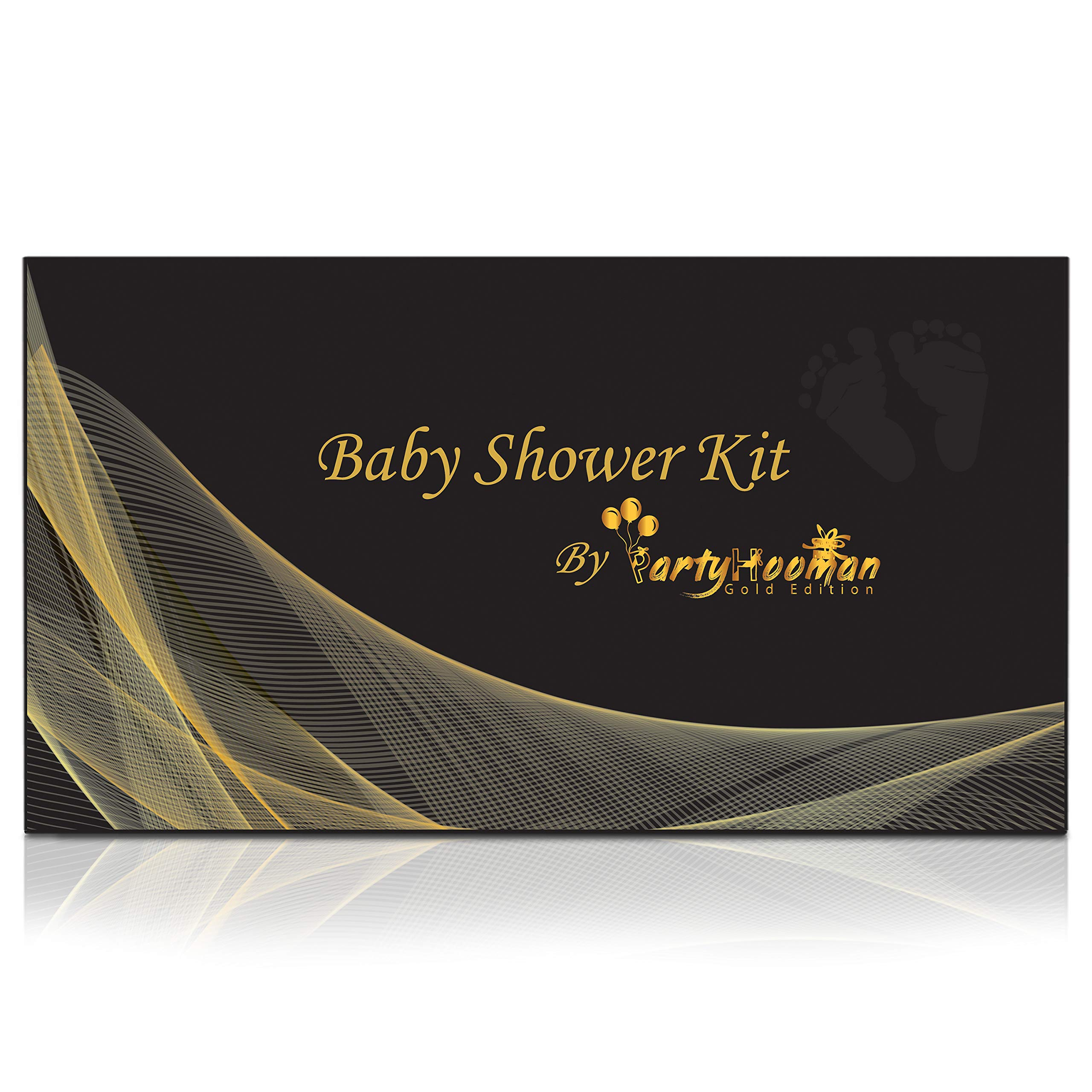 Baby Shower Decorations Kit Gold | Gender Neutral Boy or Girl | 75-in-1 Oh Baby Party Banner, Star Garland, Mom-to-Be Sash, 50 Predictions Advice Game Cards, 20 Latex Gold Balloons | PartyHooman