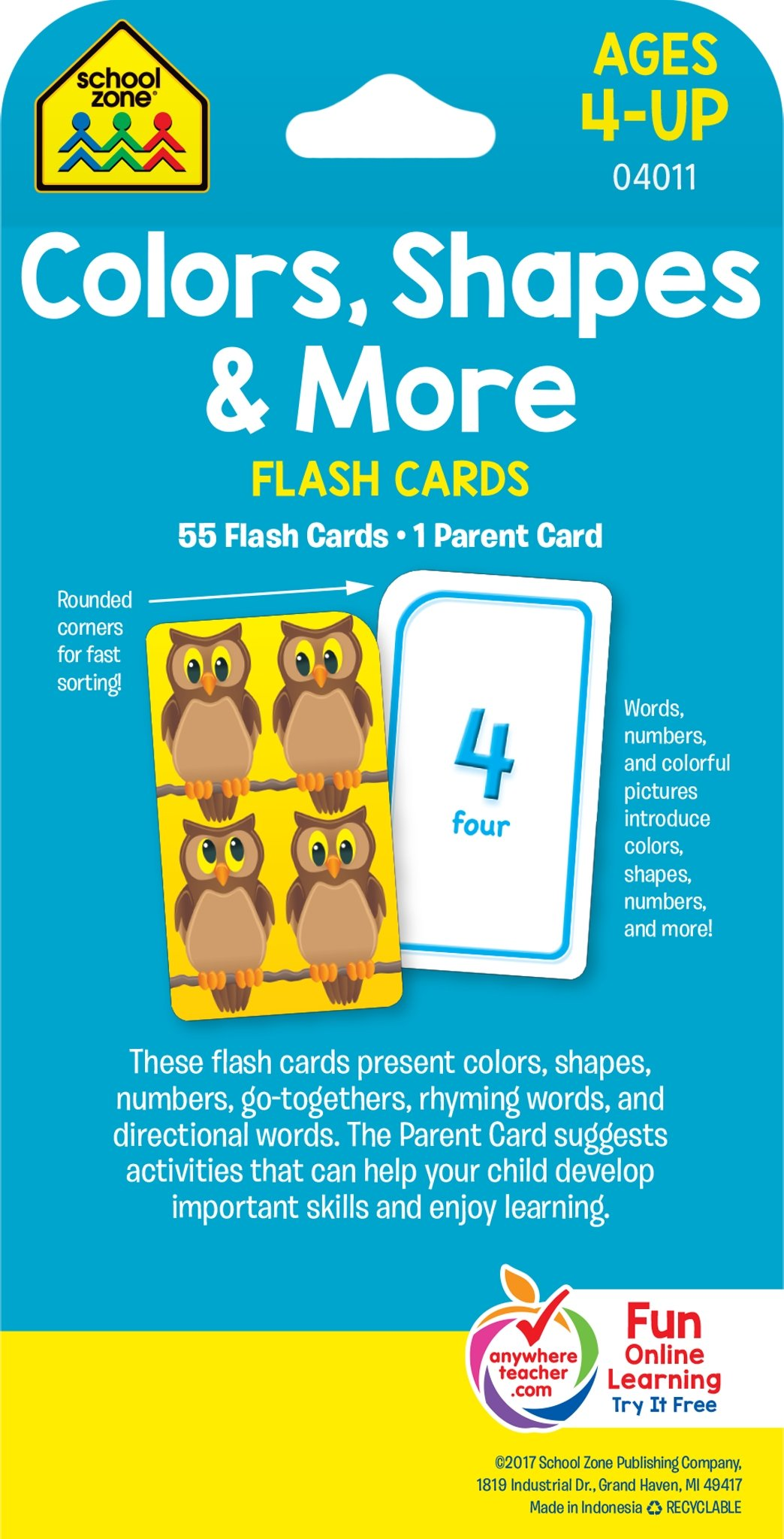 School Zone - Colors, Shapes and More Flash Cards - Ages 4 and Up ...