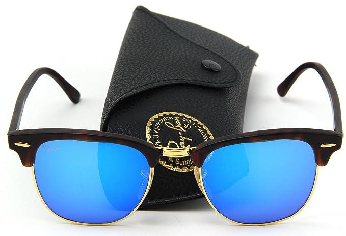 Ray-Ban RB3016 Clubmaster Flash Series Unisex Sunglasses (Sand Havana  Frame Blue Flash ecb8c94dcd92