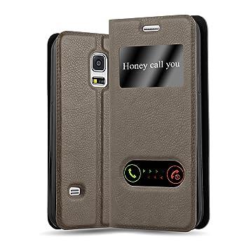 Cadorabo Funda Libro para Samsung Galaxy S5 / S5 Neo en MARRÓN Piedra - Cubierta Proteccíon con Cierre Magnético, Función de Suporte y 2 Ventanas- ...