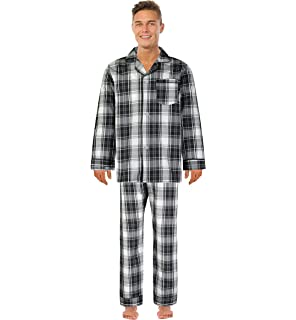 Bill Baileys Mens Long Woven Pajamas Set Button Front Down Long Sleeve Pajama