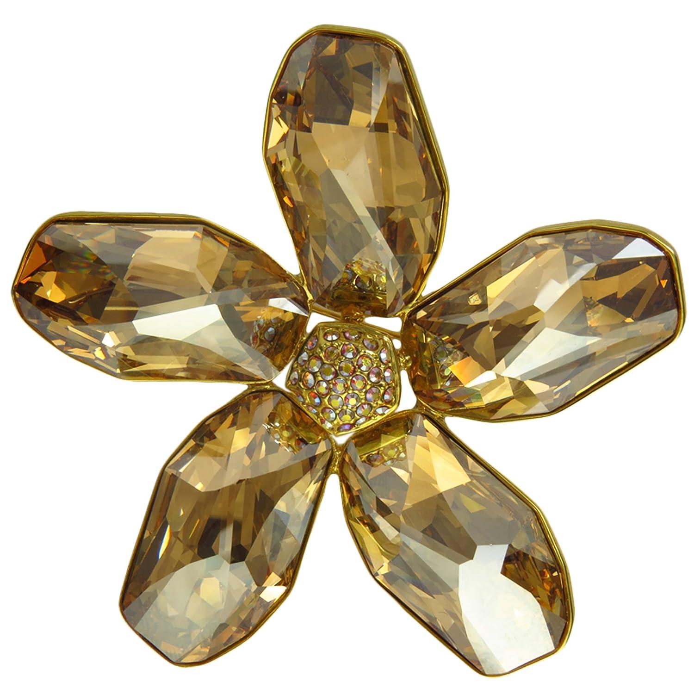 Amazon com: Swarovski Crystal Brooch Square Petal Sunflower